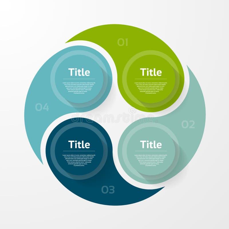 Infographic mall för vektor för diagram, graf, presentation och diagram Affärsidé med 4 alternativ, delar, moment vektor illustrationer
