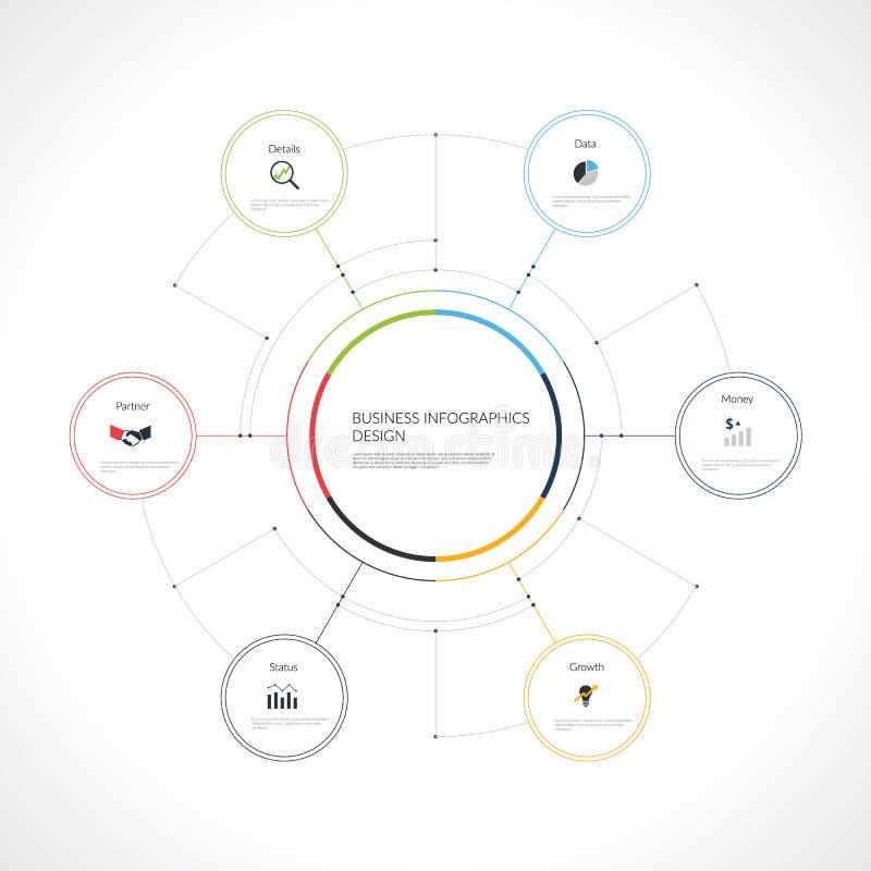 Infographic mall för vektor med cirklar royaltyfri illustrationer
