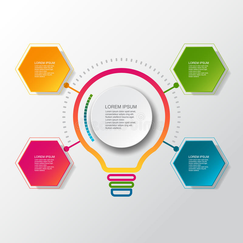 Infographic mall för vektor med etiketten för papper 3D, inbyggda cirklar Kan användas för workfloworienteringen, diagrammet, idé vektor illustrationer