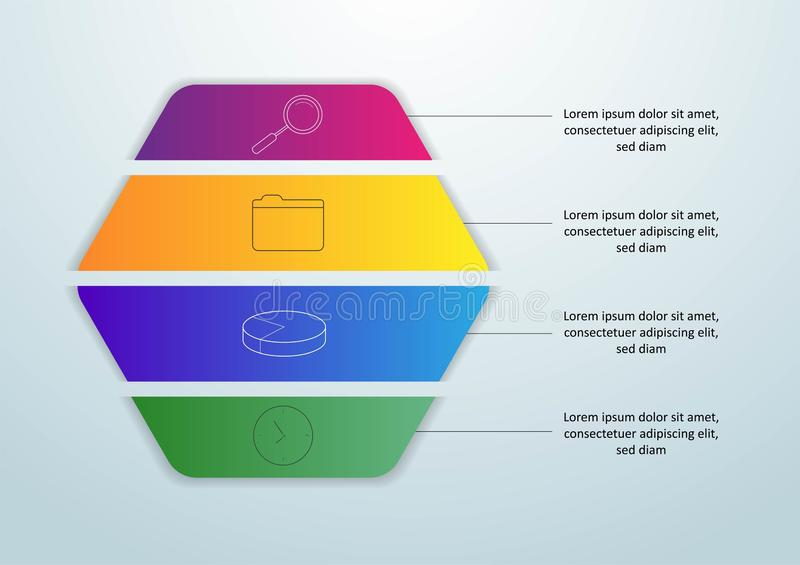 Infographic mall för vektor med etiketten för papper 3D, inbyggda cirklar Affärsidé med 4 alternativ För innehåll diagram, royaltyfri illustrationer