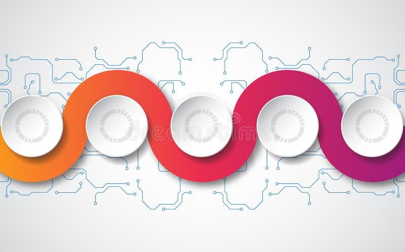 Infographic mall för vektor med etiketten för papper 3D, inbyggda cirklar Kan användas för workfloworienteringen, diagrammet, aff stock illustrationer