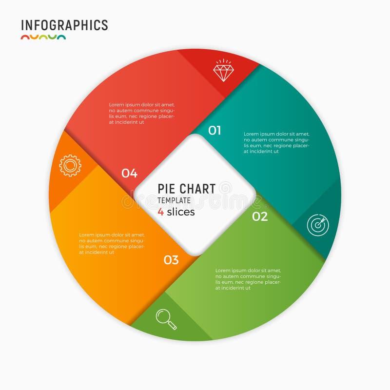 Infographic mall för vektorcirkeldiagram 4 alternativ, moment, del royaltyfri illustrationer