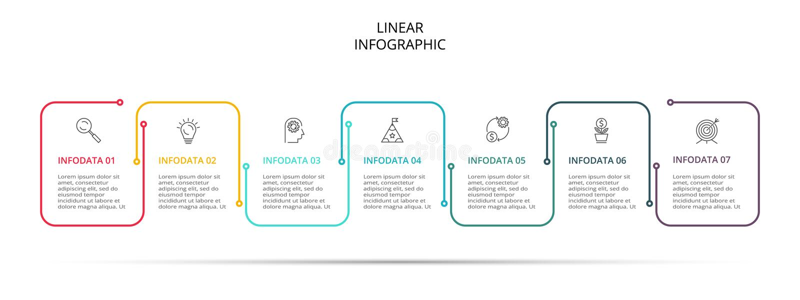 Infographic mall f?r aff?r Tunn linje design med symboler och 7 alternativ eller moment royaltyfri illustrationer