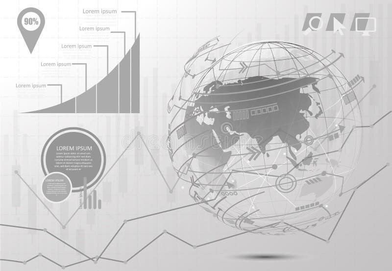 Infographic mall f?r gobal n?tverksanslutning f?r diagram v?rldskartapunktinternet av saker, ber?knande designteknologi vektor illustrationer