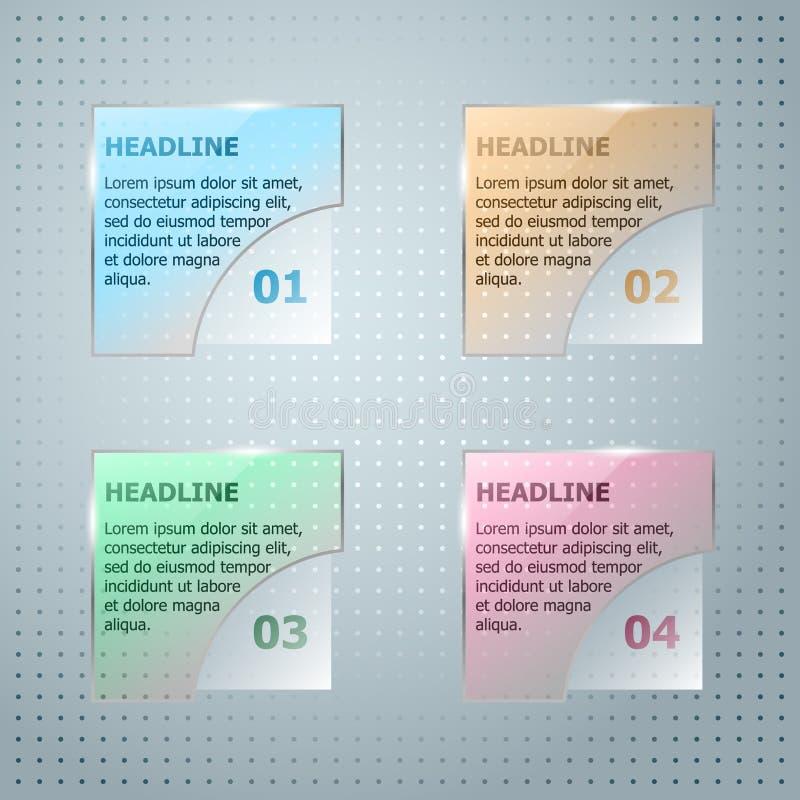Infographic mall Glas- fyrkant för vektor royaltyfri illustrationer