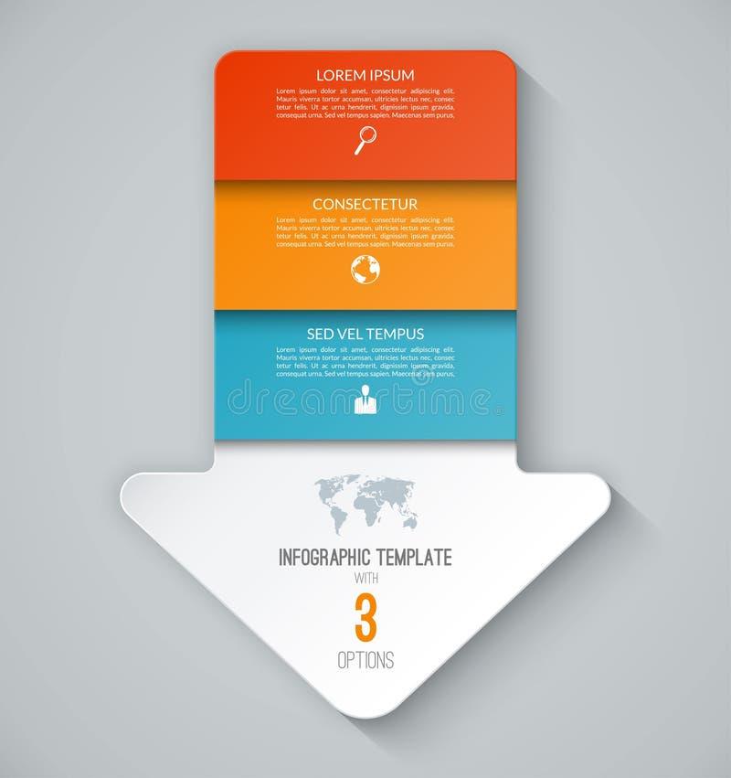 Infographic mall i form av en pil som ner pekar stock illustrationer