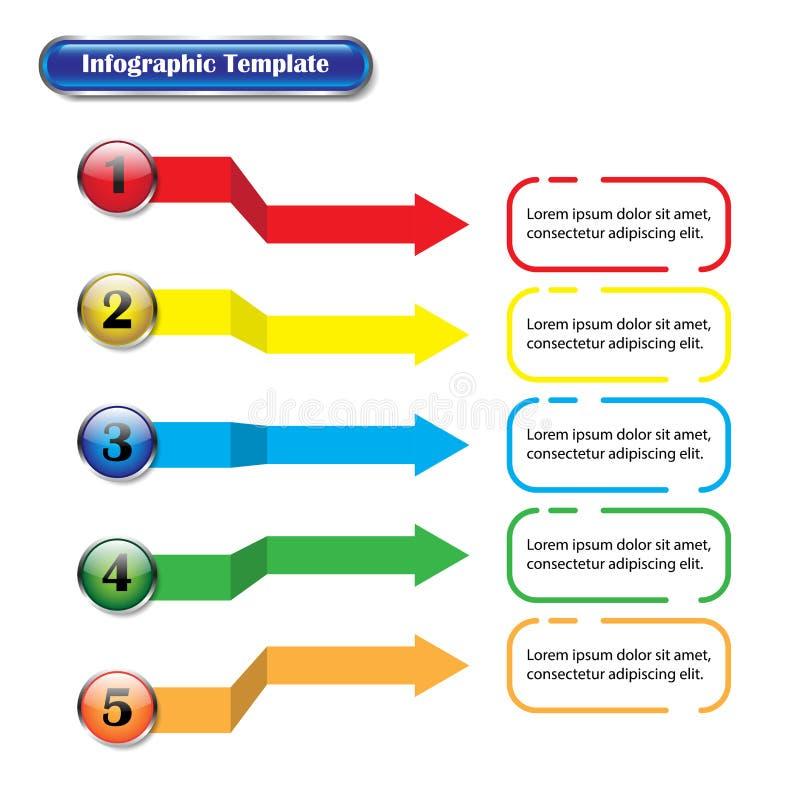 Infographic mall - knappar och pilar med text arkivbild
