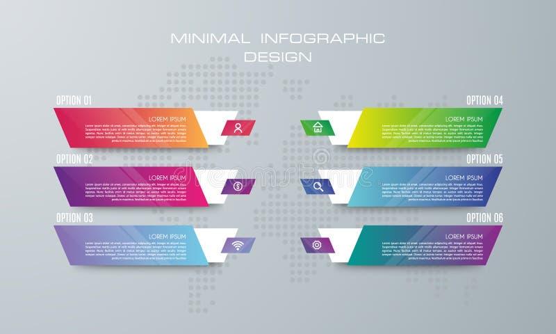 Infographic mall med 6 alternativ, baneralternativ för infographic vektor illustrationer