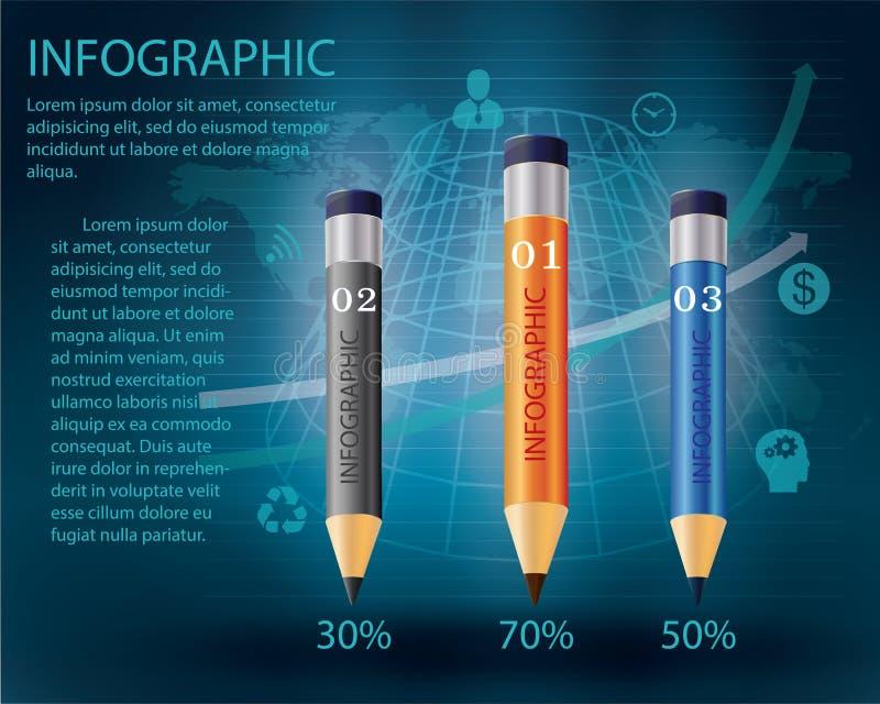 Infographic mall med blyertspennan stock illustrationer