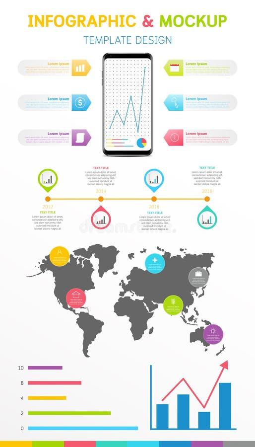 Infographic mall med den Smartphone modellisolaten på vit bakgrund vektor illustrationer