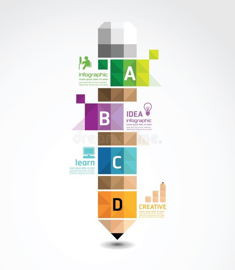 Infographic mall med det geometriska banret för blyertspenna royaltyfri illustrationer