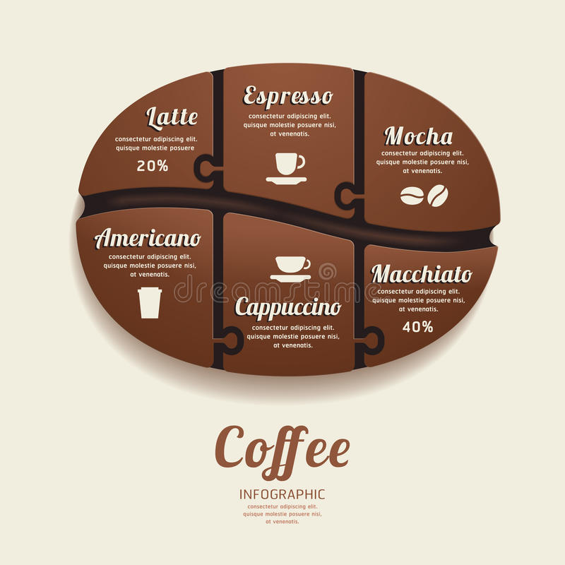 Infographic mall med det kaffeBean Jigsaw banret. begrepp. royaltyfri illustrationer