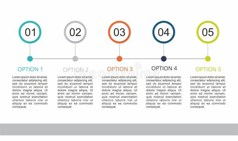 Infographic mall med fem moment stock illustrationer