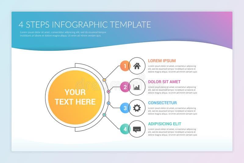 Infographic mall med fyra moment vektor illustrationer