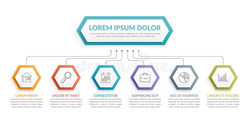 Infographic mall med 6 moment vektor illustrationer