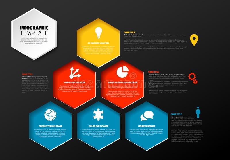 Infographic mall med pyramiden av sexh?rningar vektor illustrationer