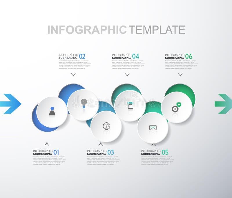 Infographic mall med sex cirklar och symboler - ljus version vektor illustrationer