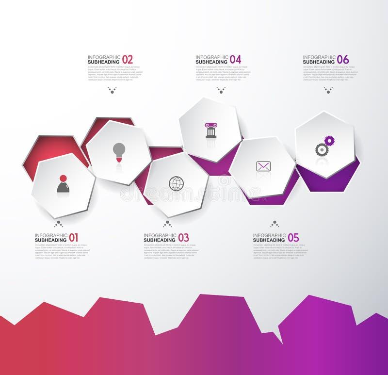 Infographic mall med sex sexhörningar och symboler - ljus version stock illustrationer