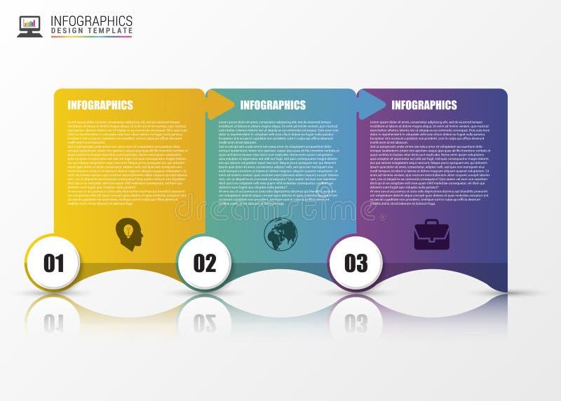 Infographic mall Minsta färgrika numrerade baner vektor royaltyfri illustrationer