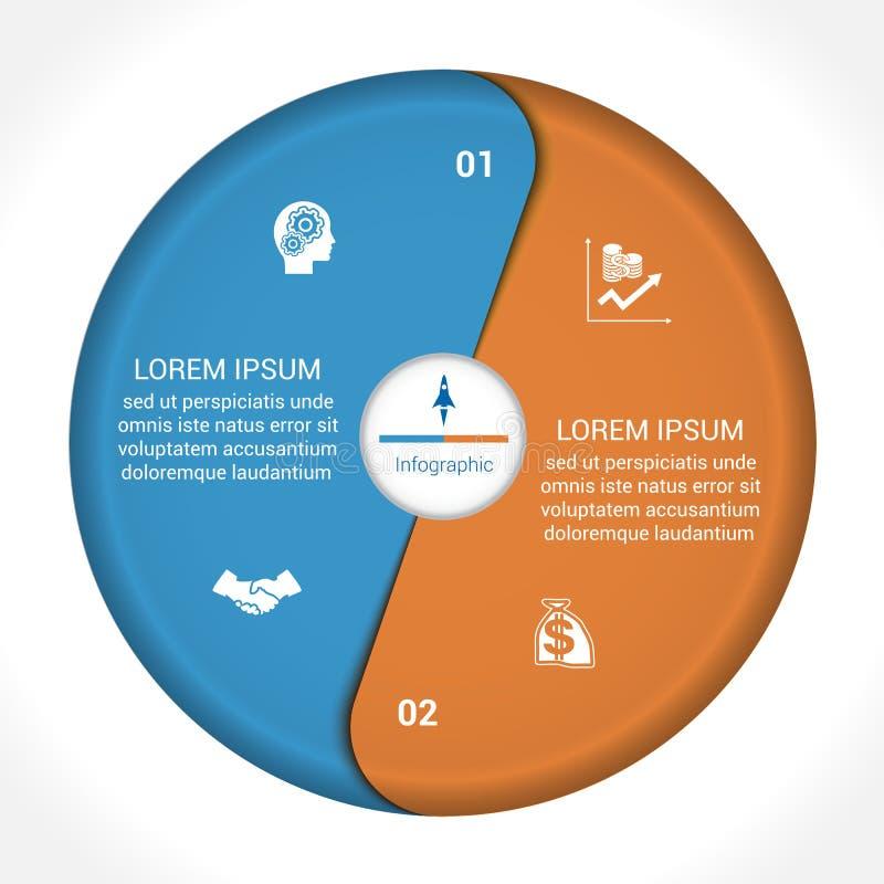 Infographic mallform av positionen för blommakronblad två royaltyfri illustrationer