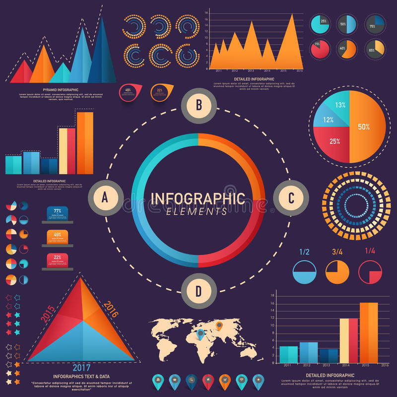 Infographic mallorientering för idérik affär stock illustrationer