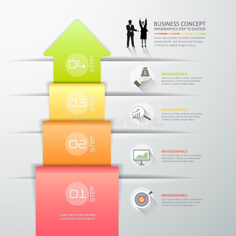 Infographic malplaatje 4 van de ontwerp abstract 3d pijl stappen voor busine stock illustratie