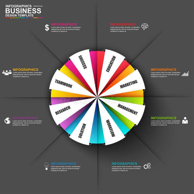 Infographic marketing diagram vector design template. Can be used for workflow processes, banner, cycle diagram, number options, presentation and round chart stock illustration