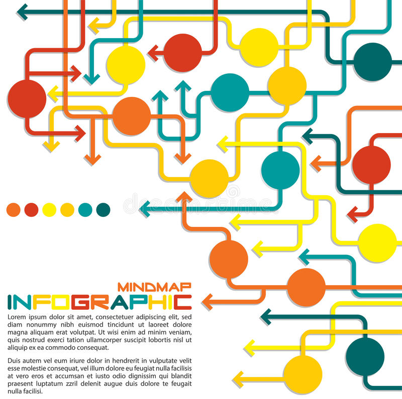 Infographic. Maze of arrows info graphic/mindmap/flowchart in format royalty free illustration