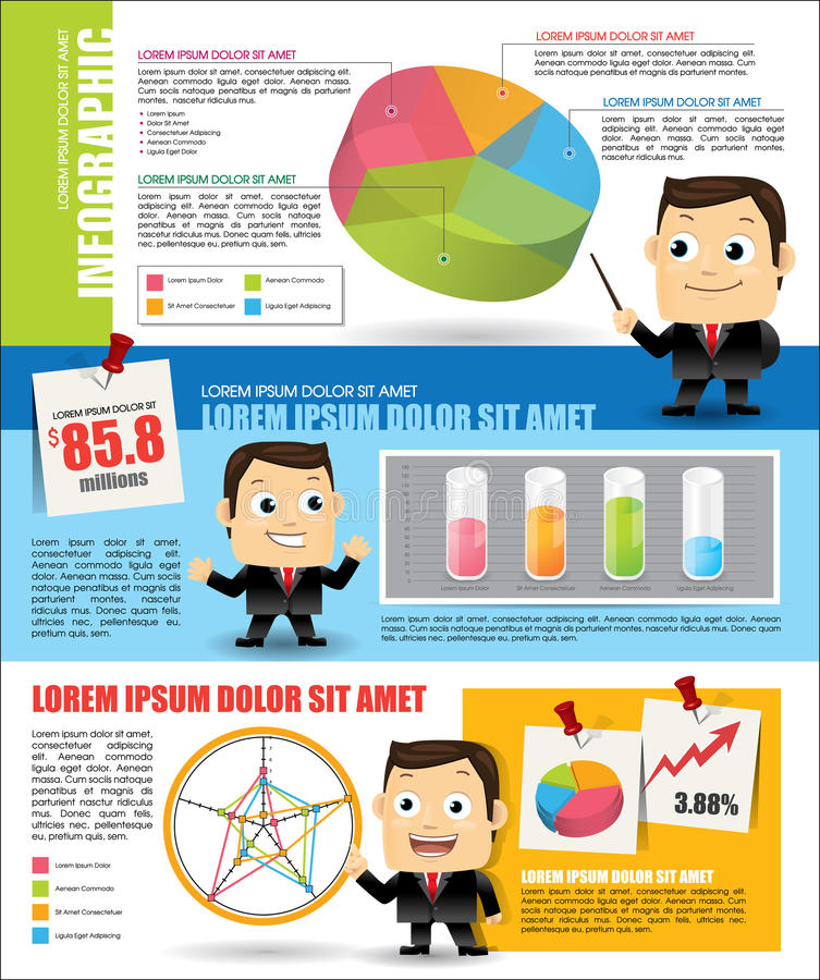 Infographic med affärsmannen stock illustrationer