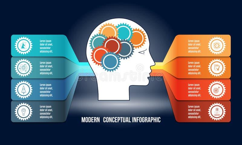 Infographic med kugghjul i manhuvud och colorfullremsor Mall med intelligensbegrepp och annat för 8 alternativ van vid stock illustrationer