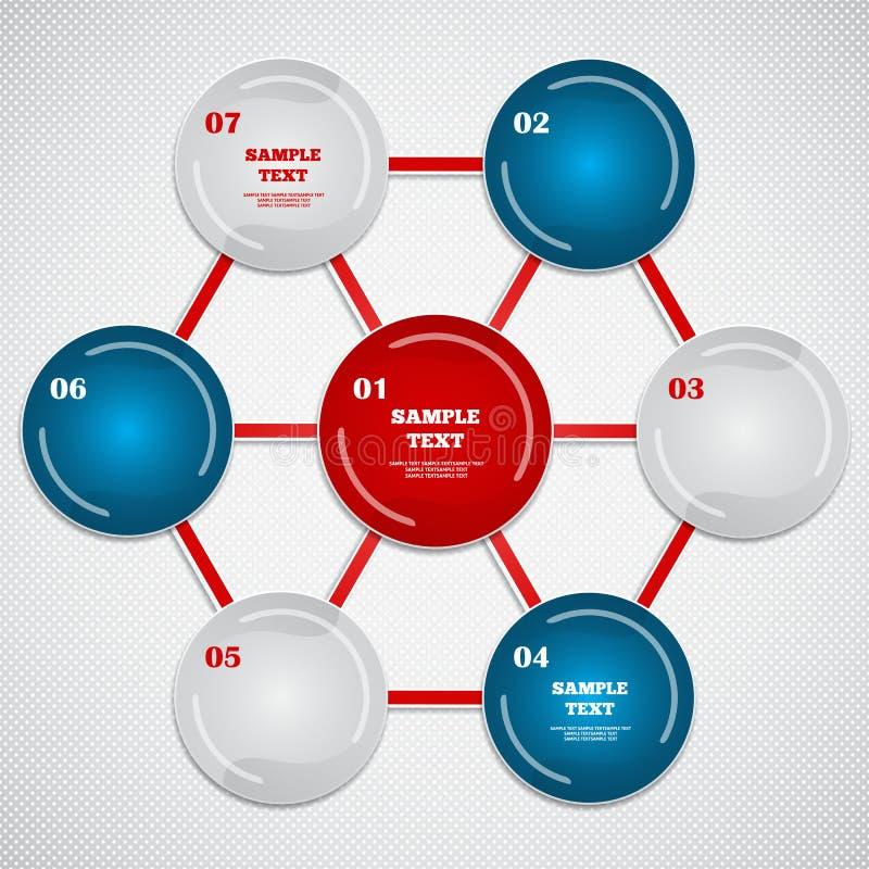Infographic med sexhörning och färgrika cirklar? stock illustrationer