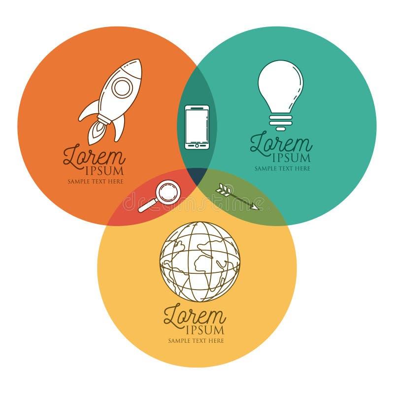 Infographic met kleurrijke die cirkels aan binnen pictogrammen worden verbonden royalty-vrije illustratie