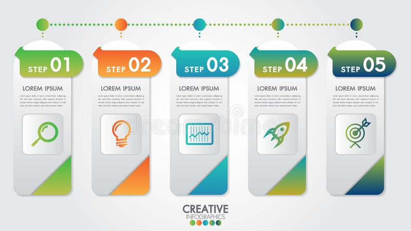 Infographic modern design vector template for business percentage with 5 steps or options illustrate a strategy. Can be used for workflow layout, diagram vector illustration