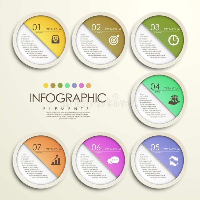 Infographic modern färgrik stil för cirkelpappersklistermärke vektor illustrationer