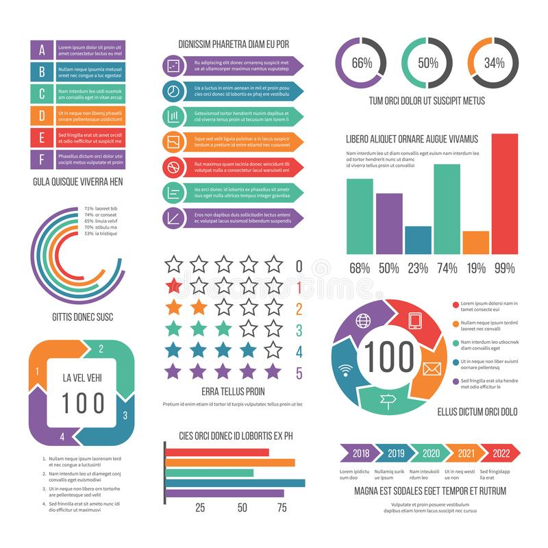 Infographic Modern werkschema marketing diagram Statistiekgrafieken en voorraad infocharts Bedrijfspresentatierapport stock illustratie