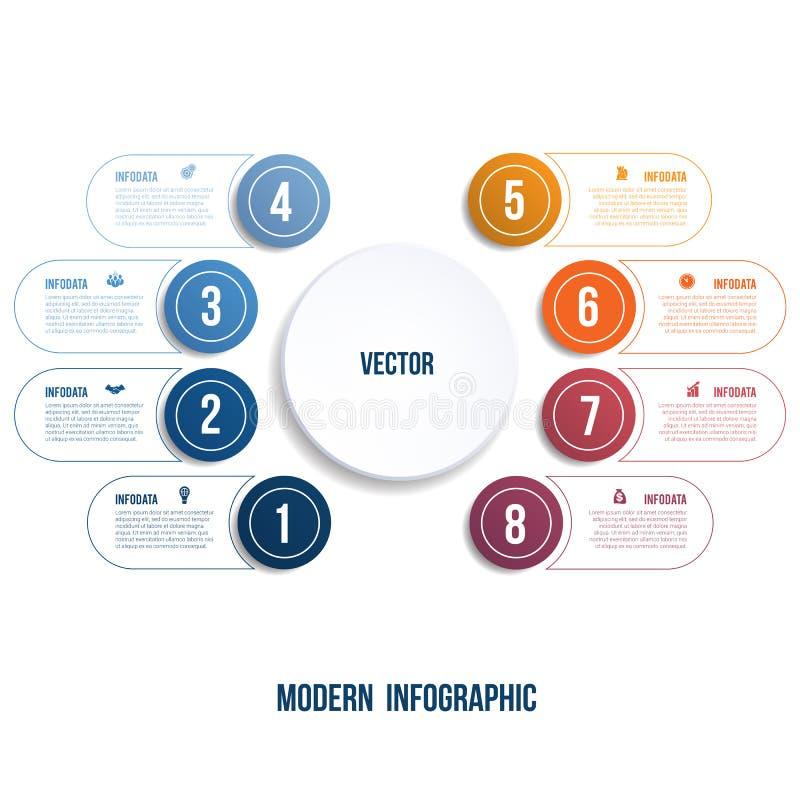Infographic moderne Calibre de diagramme pour des options de la présentation 8 illustration stock