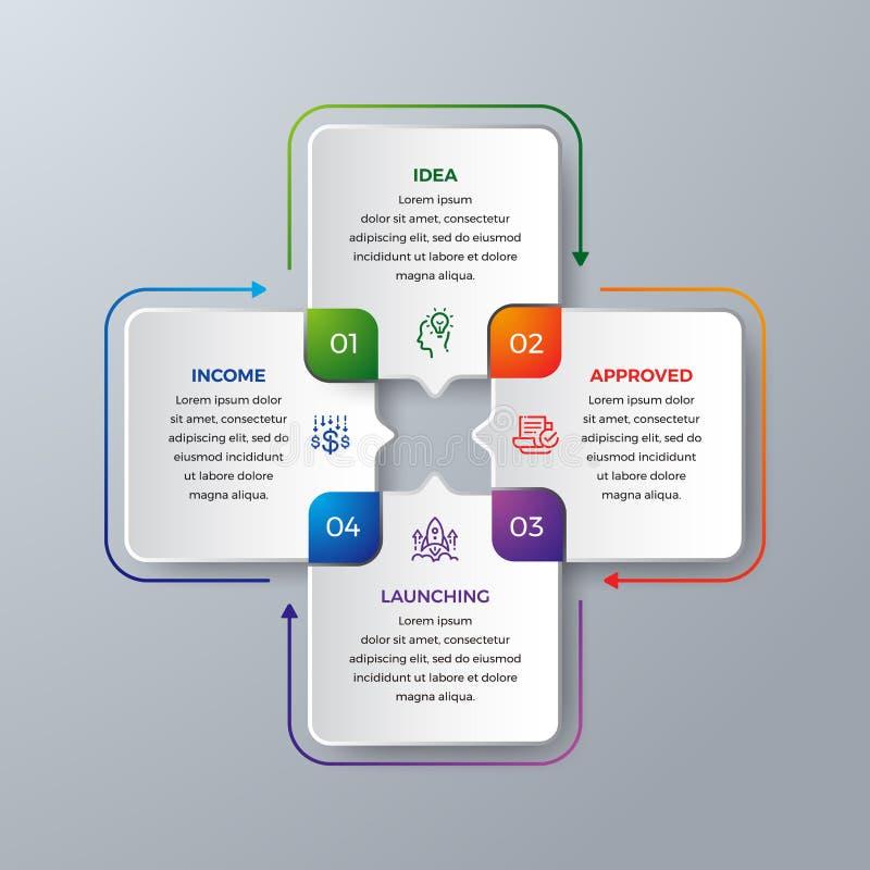 4 infographic moderni di punti con verde, porpora, l'arancia ed il colore blu possono essere usati per il vostro processo, dispos illustrazione di stock