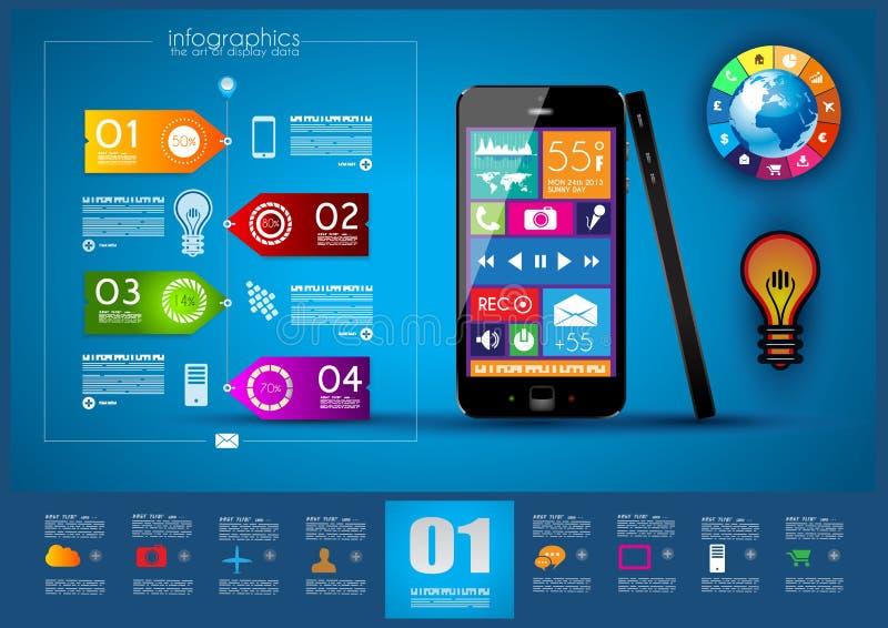 Infographic moderno con uno smartphone del touch screen royalty illustrazione gratis