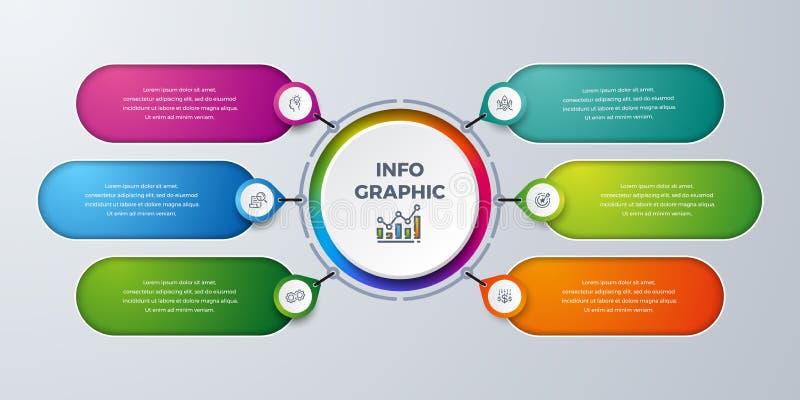 Infographic moderno con verde, púrpura, la naranja, y el color azul se puede utilizar para su proceso, pasos, disposición del flu ilustración del vector