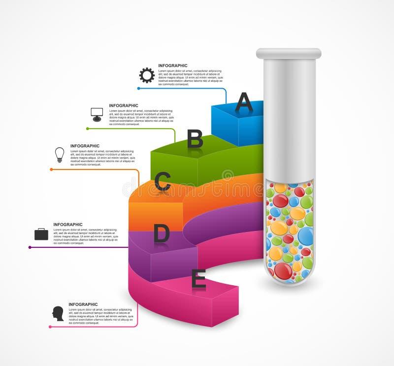 Infographic moderno en ciencia y medicina bajo la forma de tubos de ensayo Elementos del diseño libre illustration