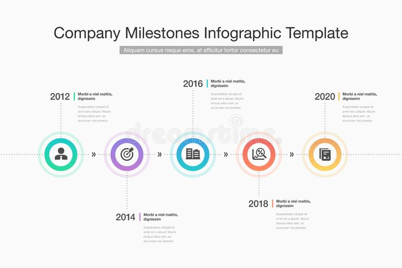 Infographic moderno para la cronología de los jalones de la compañía con los círculos, los iconos del glyph y el lugar coloridos  stock de ilustración