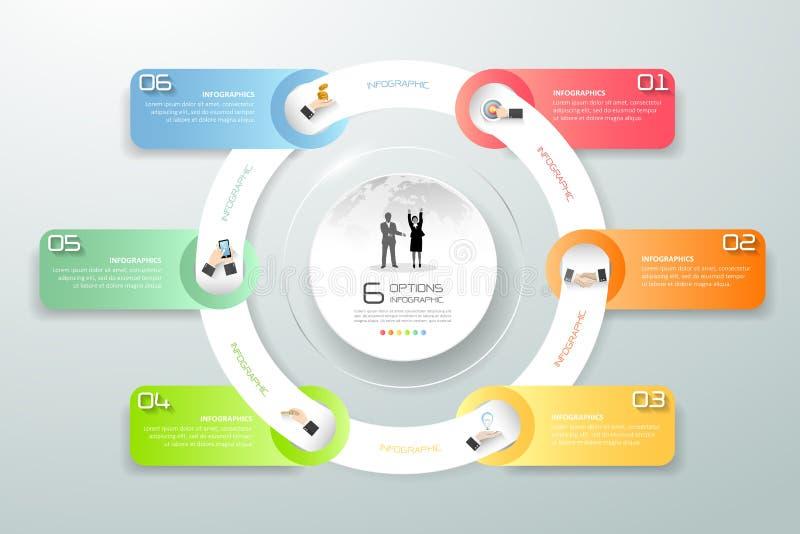 Infographic 6 moment för designcirkel, infographic affärstimeline royaltyfri illustrationer