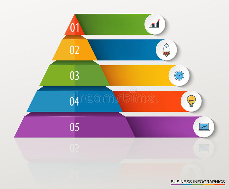 Infographic multilevel pyramid with numbers and business icons. royalty free illustration