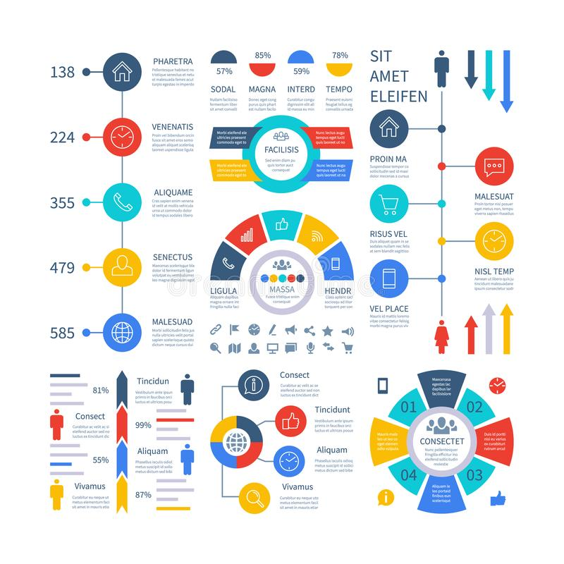 Infographic. Multipurpose financial chart marketing graph, process table, corporate timeline step flowchart. Infographics vector set. Illustration of chart and vector illustration