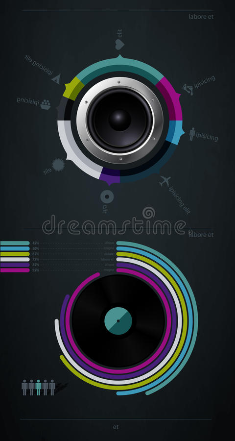 Download Infographic Music Elements With Vinyl Stock Vector - Image: 21515634