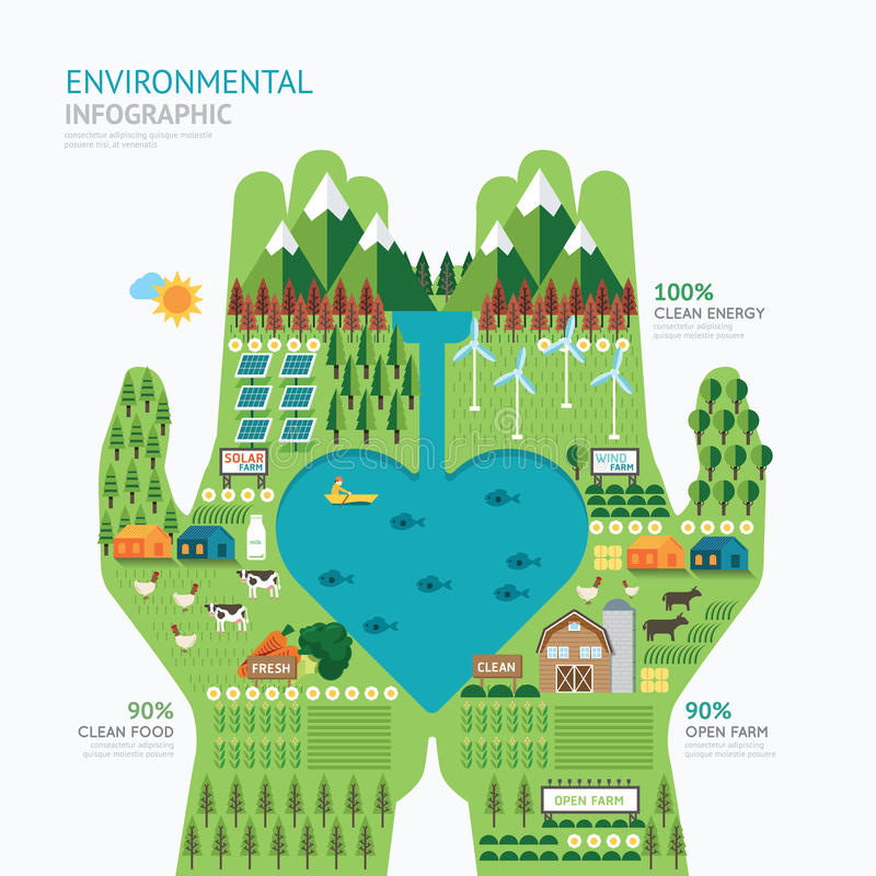 Infographic nature care hand shape template design.save nature stock illustration