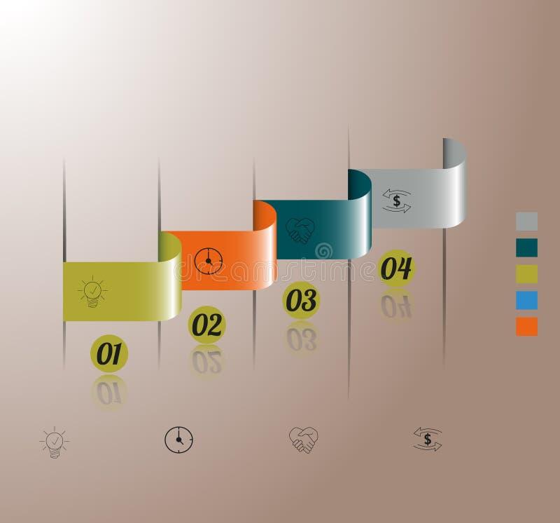 Infographic no retângulo curvado quatro etapas está vazio ilustração do vetor