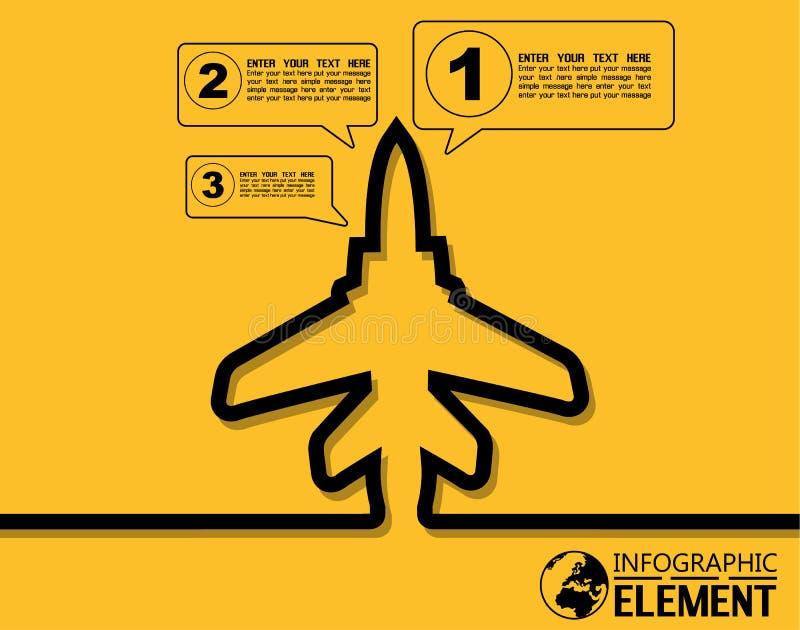 Infographic nowożytny szablon prosty z krok części opcj elementu samolotem royalty ilustracja