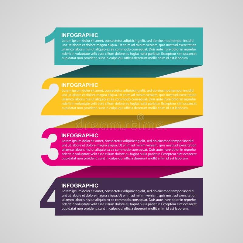 Infographic numéroté coloré créatif sous forme de rubans Élément de conception illustration libre de droits
