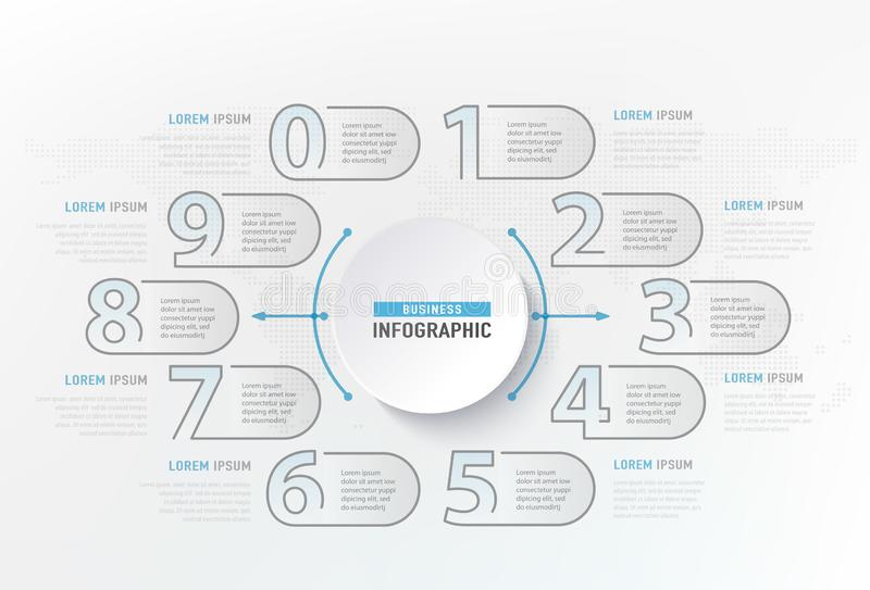 Infographic numbers steps element. Circle graphic chart diagram, business graphic design. Vector illustration stock illustration
